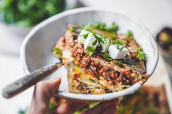 I love cooking traditional Greek dishes with a vegan or plant based spin. This moussaka is no exception; filled with potatoes and lots of olive oil.