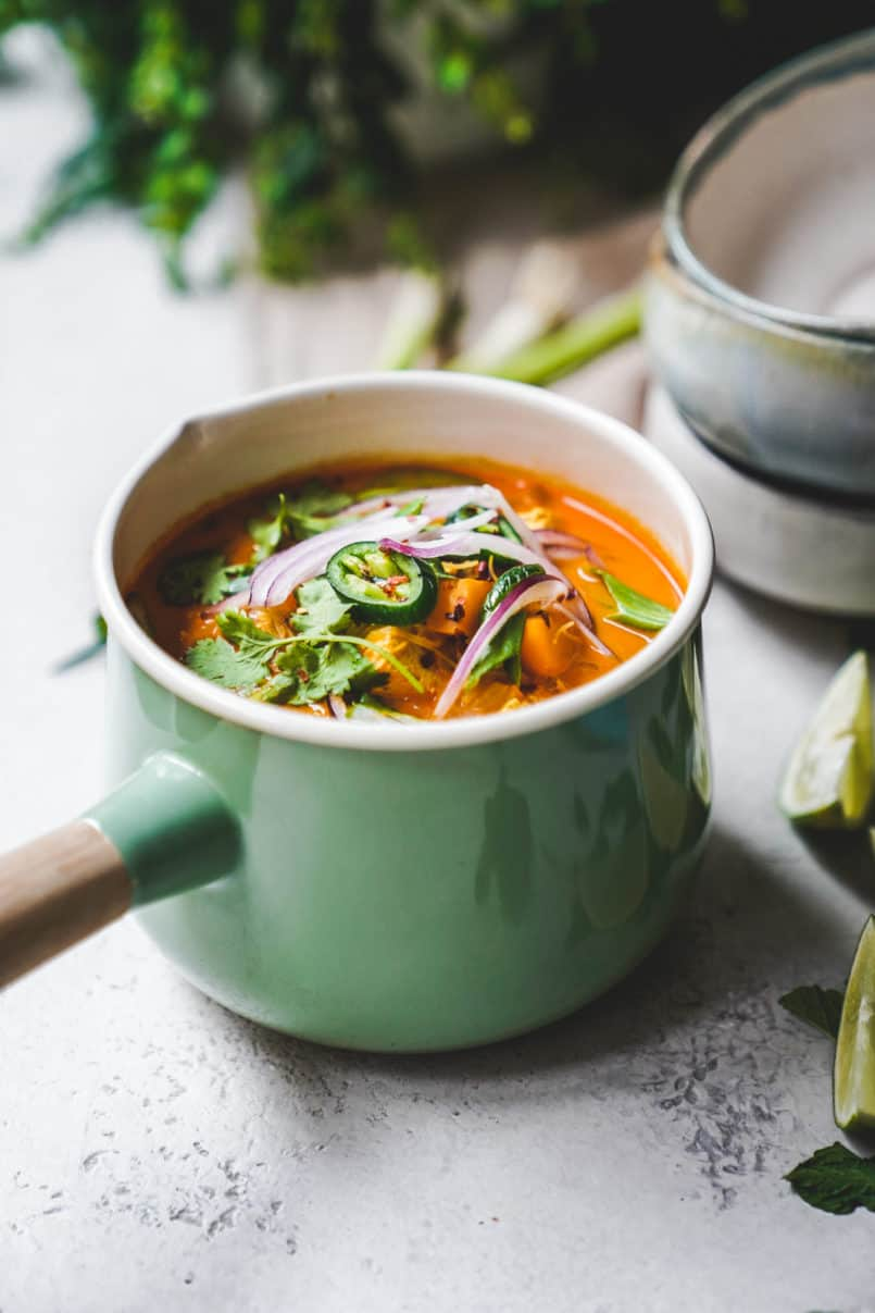 This vibrant plant-based and vegan Coconut Curry Noodle Bowl comes together so easily and just like the street vendors in Thailand, all you need is one pot!