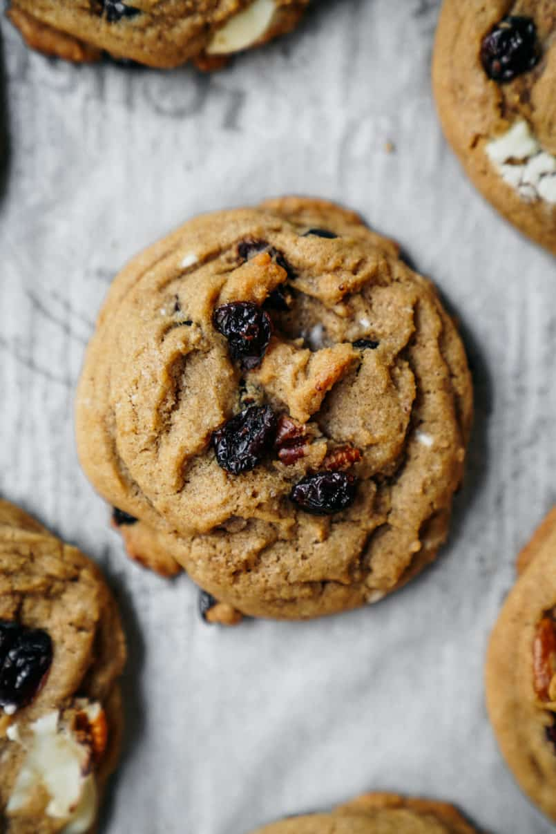 These plant-based, one bowl, white and dark chocolate chip cranberry cookies are super easy to make and are perfectly chewy and delicious!